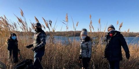 Four volunteers wearing masks standing in front of common reeds along the water